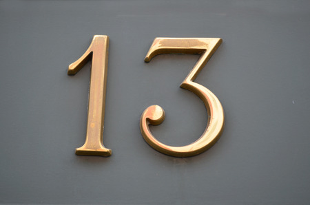 thirteen: numbers thirteen concept as fortunes Stock Photo