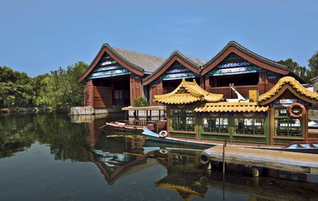 Boat House in Summer Palace Beijing Stock Photo