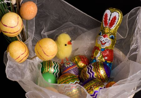 factitious: Easter basket with bunny and chicken