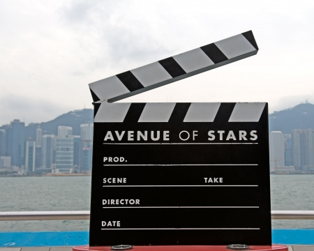 Clapboard statue in Avenue of stars in Hong Kong