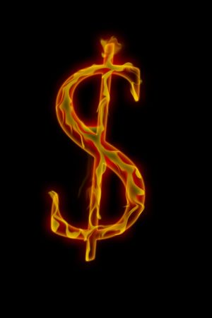 ドル記号、黒い背景にイメージの書き込み