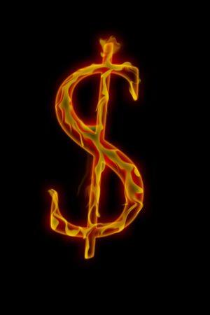 Dollar sign burning, image on black background Imagens