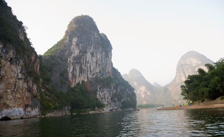 View on Guilin mountains from the river Stock Photo