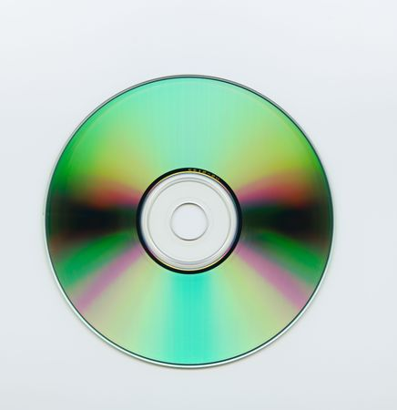 Extreme close up of a blank cd over white background photo