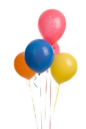 Five colourful ballons image on white bacground Stock Photo