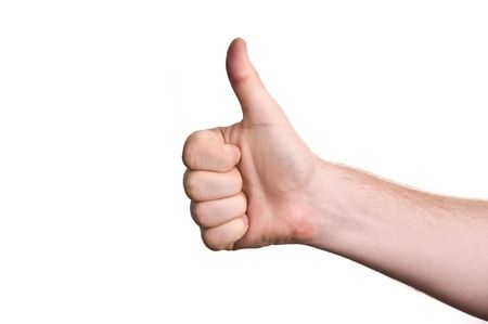 mans hand showing close up of the thumbs up sign