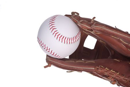 baseball player making a catch with his glove Stock Photo