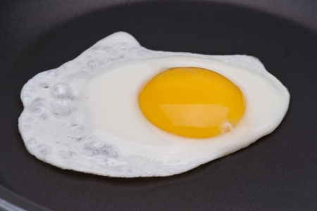 One egg in a black skillet frying pan Stock Photo - 5322884