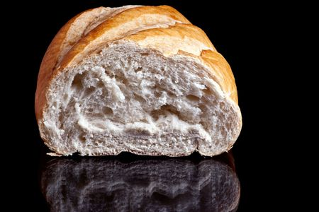 Image of a Loaf of Bread on black background