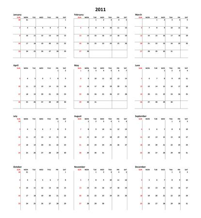 Simple Calendar for year 2011 Stock Photo