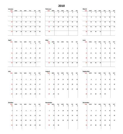 Simple Calendar for year 2010