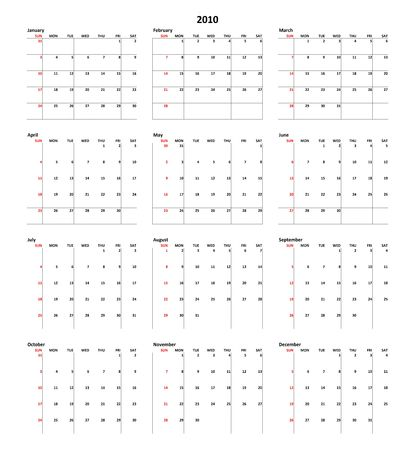 planner: Simple Calendar for year 2010
