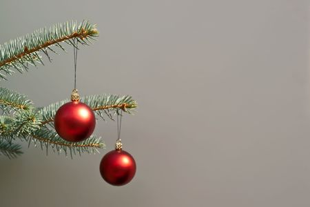 Christmas tree close up decoration hanging balls