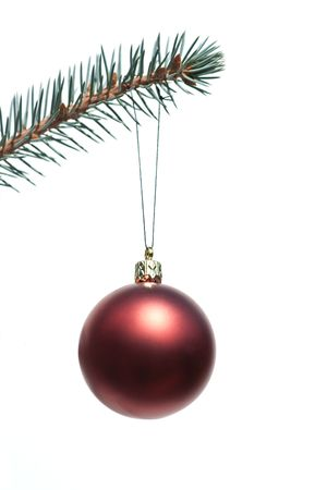 Christmas tree decoration, hanging ball on white background photo