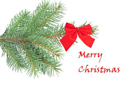 Christmas tree and greetings on white background Stock Photo