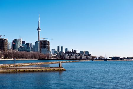 View on CN tower, downtown and the lake Ontario in Toronto Canada