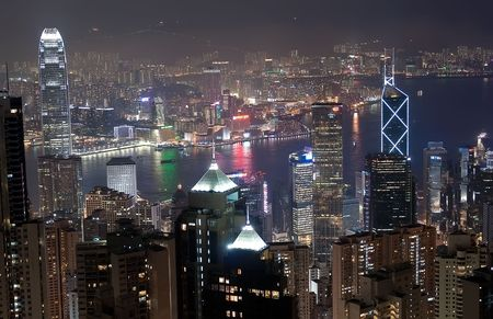 View on Hong Kong downtown and Kawloon from the mountain