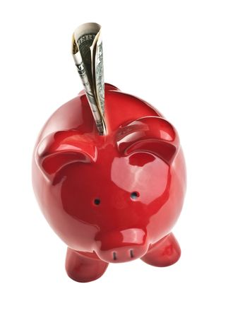 Red piggy bank isolated on white background Stock Photo