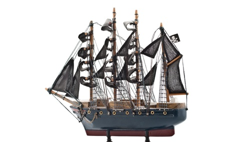 Isolated on white  pirate boat wooden model