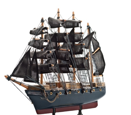 Isolated on white  pirate boat wooden model photo