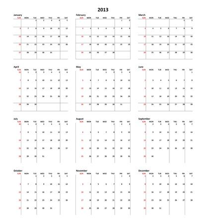Simple Calendar for year 2013 Stock Photo