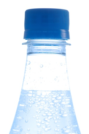 Bottle of water with bubbles on white background