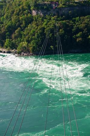 A cable car suspended over the Niagara River downstream from Niagara Falls. Banco de Imagens