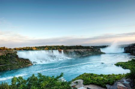 Panoramic view on American and Canadian Falls at Nigara Stock Photo