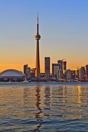 Toronto city sunset view from center island photo