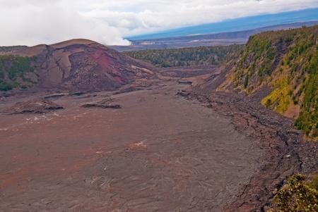 kilauea: the Halemaumau crater in the Kilauea Caldera. Located in the Volcano National Park on the Big Island of Hawaii. Horizontal image of the Kilauea volcanic caldera on Hawaii (Big Island)