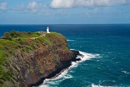 Famed Kilauea lighthouse near Anahola on Kauai Island Hawaii
