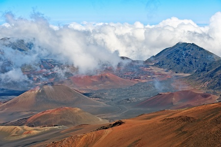 Haleakala Volcano and Crater Maui Hawaii showing surrealistic surface with mountains, lava tubes, rocks Stock Photo