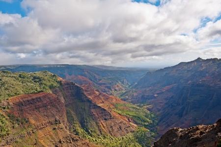 View into the Waimea Canyon on Kauai, Hawaii  the  Grand Canyon of the Pacific   Stock Photo