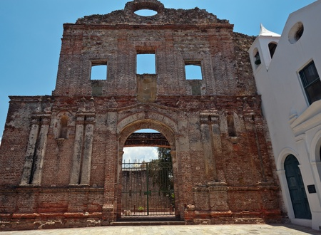 The ruins of the Convent and Iglesia de la Compania de Jesus, is one of the most striking once in Casco Viejo  Back in 1667 it was the home of the Royal Pontifical University of San Javier  In 1781 the church was destroyed by a fire and further damaged by Stock Photo