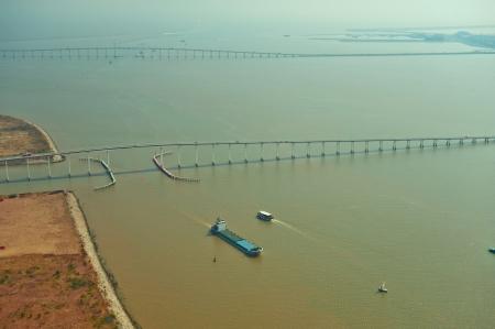 Views of the Pearl River Delta, Macau Bridges Stock Photo