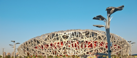 Beijing, China - August 22, 2008: Located on Beijing Olympic Green, the Beijing National Stadium or the Birds Nest was home of the 2008 Beijing Olympics.