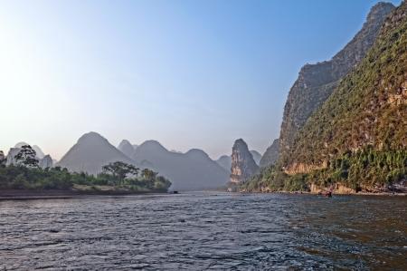 Mountain view when cuize in Li river cruize, Guilin China photo
