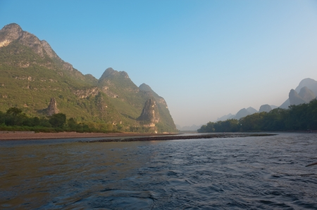 Famous karst mountains along the Li river near Yangshuo, Guangxi province, China photo