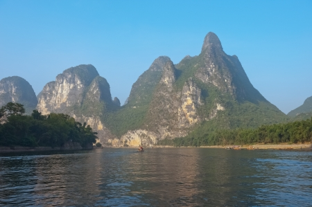 Famous karst mountains along the Li river near Yangshuo, Guangxi province, China Stock Photo - 13711763