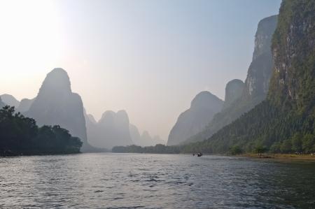 Famous karst mountains along the Li river near Yangshuo, Guangxi province, China
