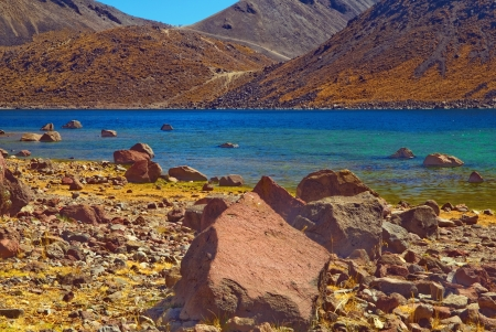cited: Nevado de Toluca is a large stratovolcano in central Mexico, located about 80 kilometres (50 mi) west of Mexico City near the city of Toluca. It is generally cited as the fourth highest of Mexicos peaks. There are two crater lakes on the floor of the bas