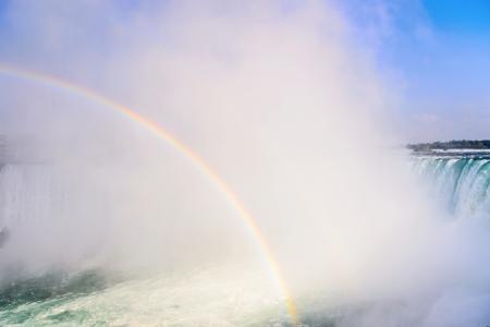 Rainbow rises from the mist at Horseshoe, Niagara Falls, Onta, Canada Stock Photo - 15888454