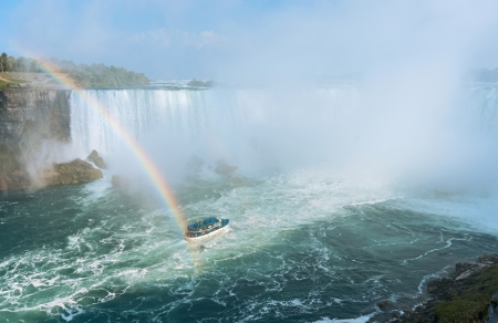 Rainbow rises from the mist at Horseshoe, Niagara Falls, Ontario, Canada photo