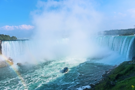 Rainbow rises from the mist at Horseshoe, Niagara Falls, Ontario, Canada Stock Photo - 15888459