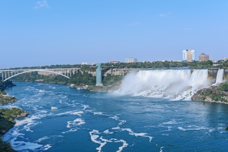 Aerial View on US Niagara Falls from the observation deck of Skylon Tower, Niagara Falls, Ontario, Canada  photo