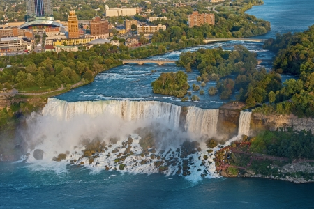 Aerial View on US Niagara Falls from the observation deck of Skylon Tower, Niagara Falls, Ontario, Canada  Stock Photo