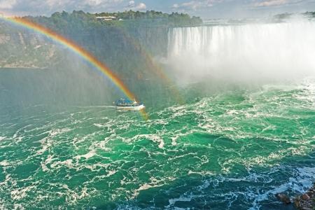 Rainbow rises from the mist at Horseshoe, Niagara Falls, Ontario, Canada Stock Photo - 15888507