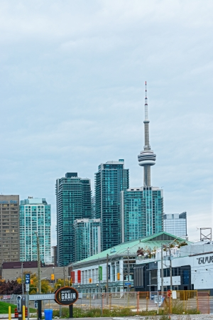 panorama photo, the skyline of downtown Toronto with the  tower at the background