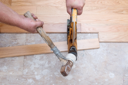 hardwood: A hardwood floor installation in progress   Stock Photo