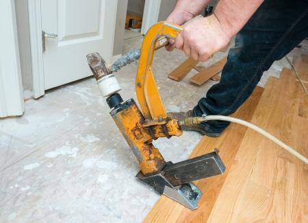 A hardwood floor installation in progress   Stock Photo